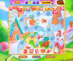 The Candyland-like game map is especially appealing to kids.